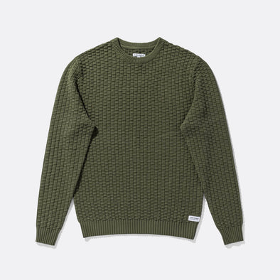 Supersoft textured luxe knit in military green with crew neck styling.
