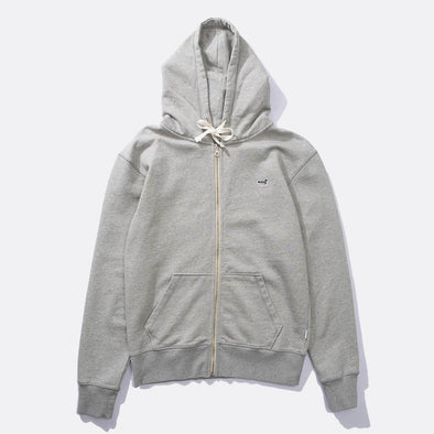Zip-up grey hoodie with chest duck patch.