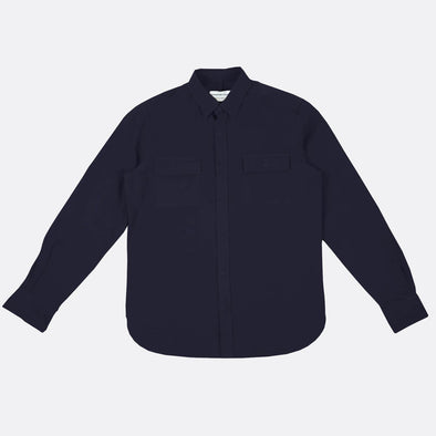 Regular fit navy blue shirt with two chest pockets.