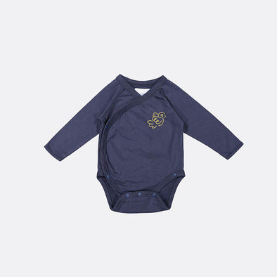 Longsleeve wrap-over navy bodysuit witht snap fasteners on both sides and on the crotch.
