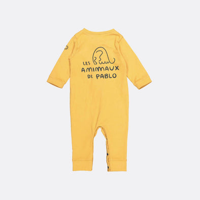 Longsleeve playsuit was garment dyed in yellow and has Hey Soleil's embroidery on the sleeve with snap fasteners on the front and on the legs.