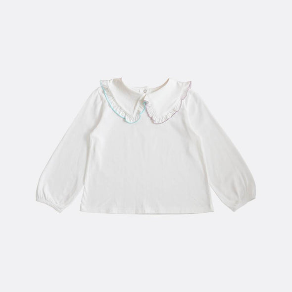 White longsleeve blouse featuring an embroidered ruffled bib collar and subtle balloon sleeves.