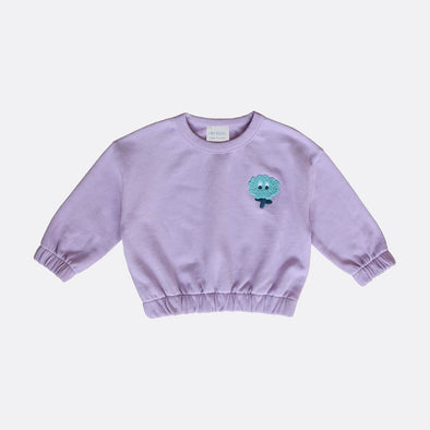 Round neck purple sweatshirt woth chest embroidery and elastic hem and cuffs.