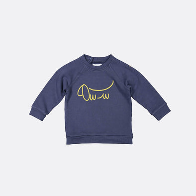 Blue longsleeve with sausage dog front print and back snap fastening.