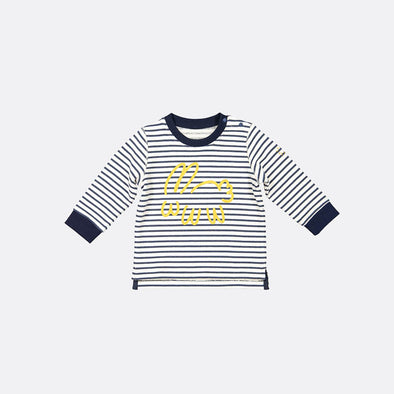 White and navy striped longsleeve sweatshirt with bunny print and opening with snap fasteners.