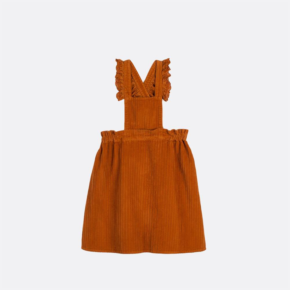 Pinafore dress with english embroidery detail.
