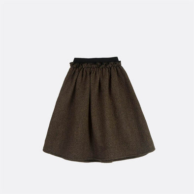 Mid length skirt with elastic detail waist.