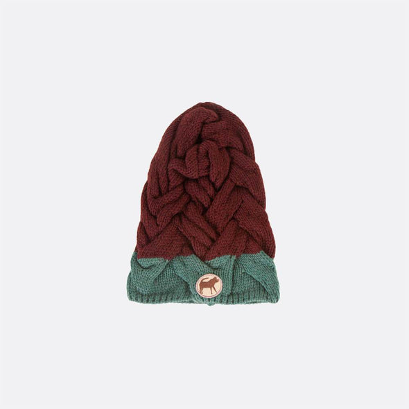 Multi-stitch contrast knitted beanie.