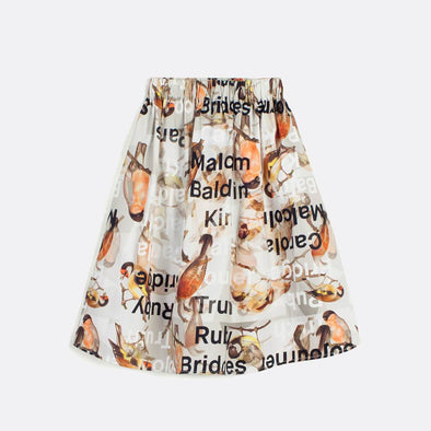 Evasé all over pattern skirt with elastic waistband.