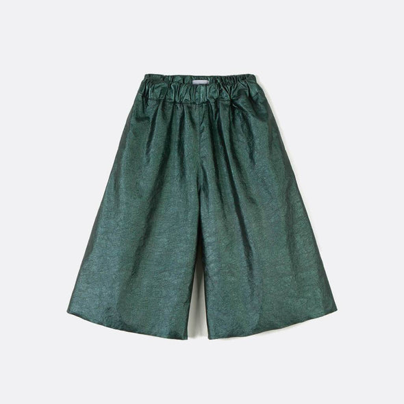 Wide-leg pants in green with elastic waistband.