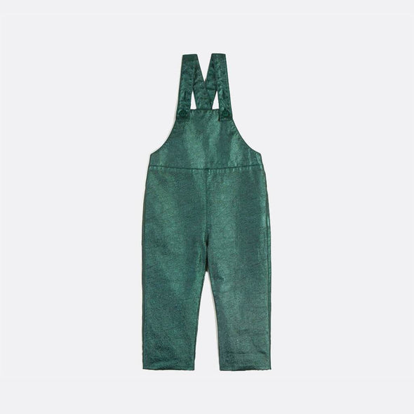 Shinny green dungarees with elastic waistband.