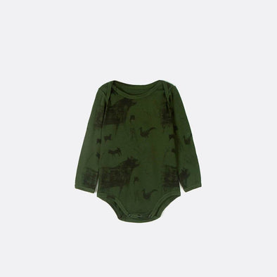 Army green bodysuit with all over animal pattern in black.