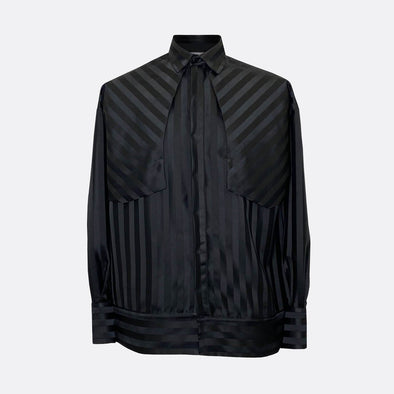 Black stripped oversize shirt in black, with oversize cuffs and hem.