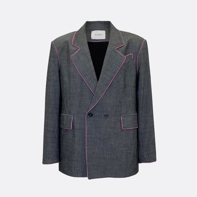 Unisex blazer in grey with pink outlines.