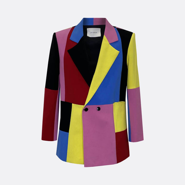 Patchwork color block blazer with two button fastening, oversize fit.