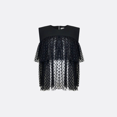 Black ruffles top with chest cut in a see through fabric.