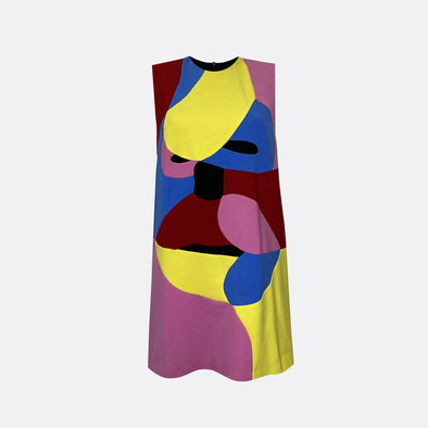 Sleeveless multi color mini dress with face patchwork.