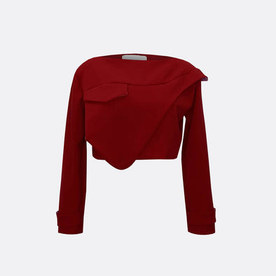 Longsleeve red crop top with front detail.