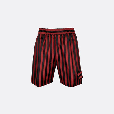 Black and red stripped shorts with side pocket.