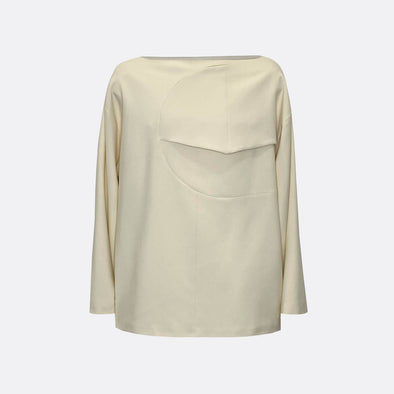 Oversize beige sweatshirt in a bateau neckline with front chest detail like pocket.