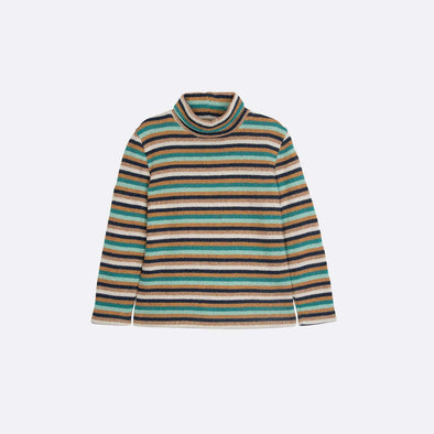 Striped green sweatshirt with high collar.