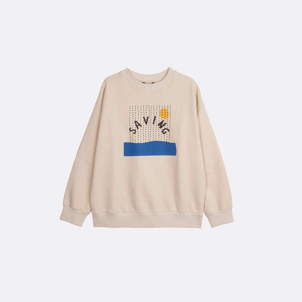 Round neck longsleeve basic beige sweatshirt with garment dye and frontal print.