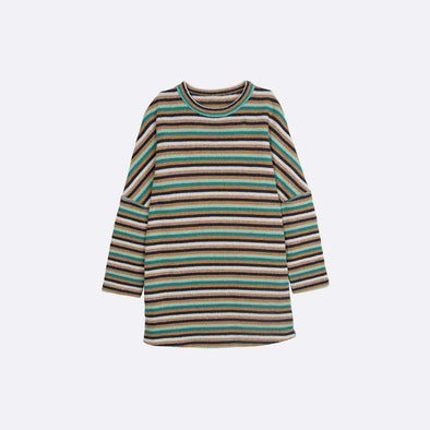 Striped reversible dress in green.