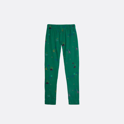 Elastic waistband green leggings with garment dye and all over print.