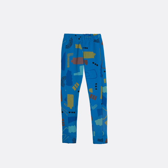 Elastic waistband blue leggings with garment dye and all over print.