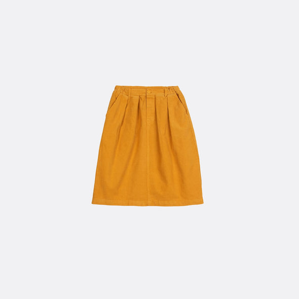 Yellow skirt with front pleats and elastic waistband.