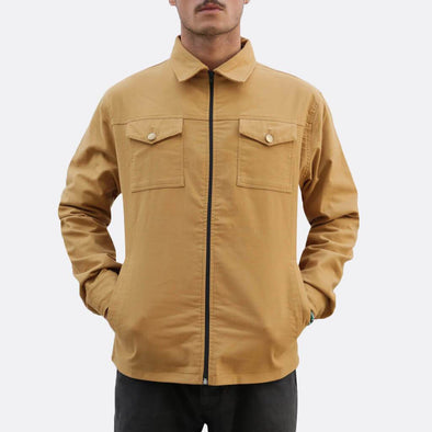 Yellow/beige shirt jacket with zip fastening and two chest pockets and side hand pockets,deatil lining with different pattern and fabric.