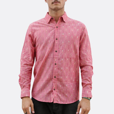 Hand-woven and dyed with ikat technique shirt in pink.