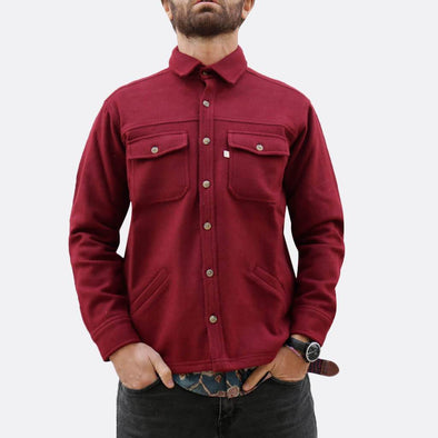 Bordeaux shirt jacket with button fastening and two chest pockets and side hand pockets, deatil lining with different pattern and fabric.