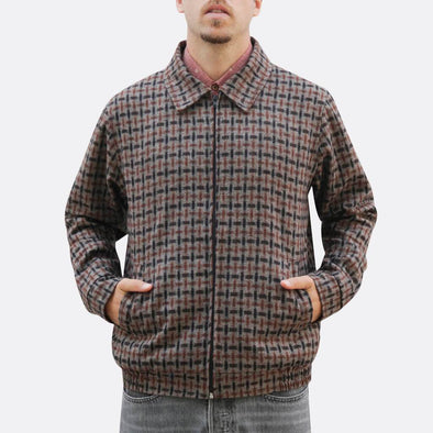 Geometrical brown pattern shirt jacket with zip fastening and two side hand pockets.