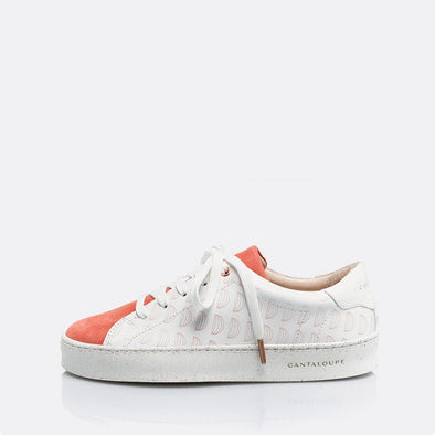 Low top white and coral sneakers in leather and suede with detail cantaloupe print.