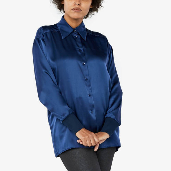 Oil blue oversized shirt featuring long sleeves with ribbed cuffs.