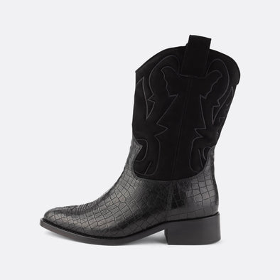 Western boots in black leather with crocodile print featuring shaft in smooth black suede with aztec embroidery.