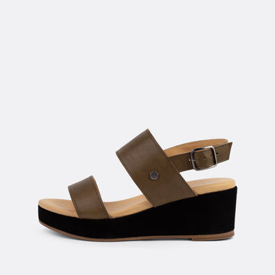 Khaki green leather sandals with a dark brown suede platform sole.