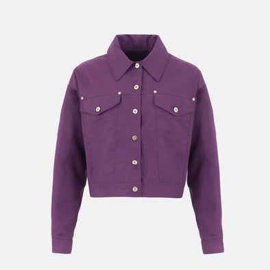 Quilted trucker jacket in purple with chest cut and oversize chest pocks featuring metal buttons.