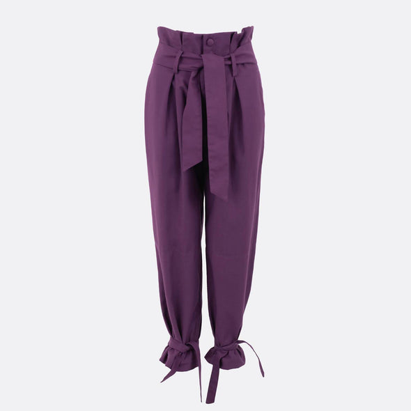 Front pleated high waist belted purple trousers.