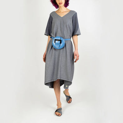 Wide jacquard navy midi dress with detailed short sleeves.