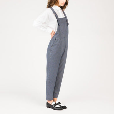 Straight cut sleeveless overalls small in blue check print.