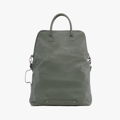 Messenger style bag with rectangular shape retro handle in army green full grain leather with detachable adjustable strap