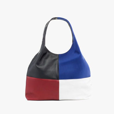 Large shopper in black full grain leather with symmetrical red, blue and red panels