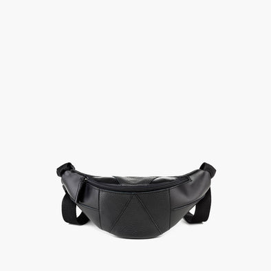 Maleable waist bag in black leather with geometric panel design with matching black zipper and adjustable strap