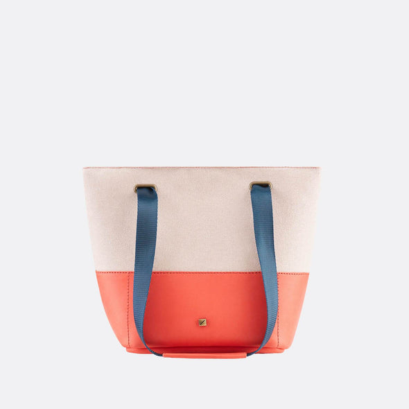 Handbag/cross-body bag in red environmental-friendly tanned leather and light pink recycled cotton.