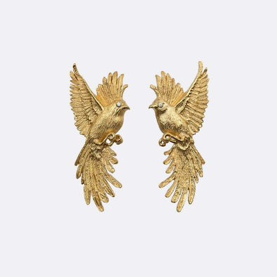 Gold-plated brass earrings with zircons.
