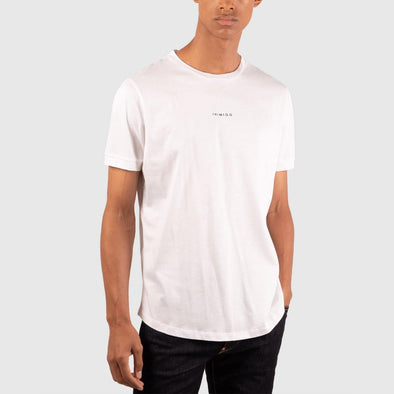 White t-shirt with inimigo chest print and back hem print.