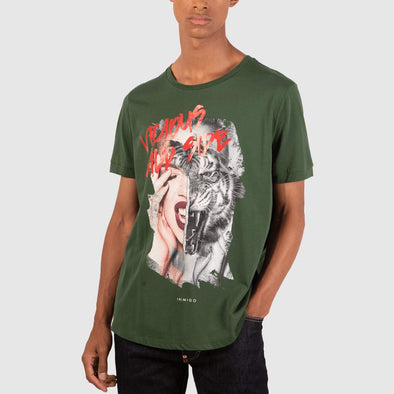 Green t-shirt with lion girl front print.