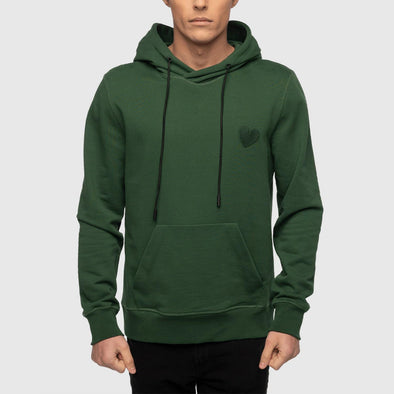 Green classic hoodie with kangoroo pocket and embroidery heart on chest.